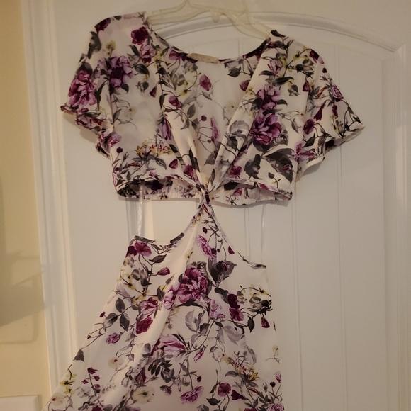 Side Cut Out Floral Dress